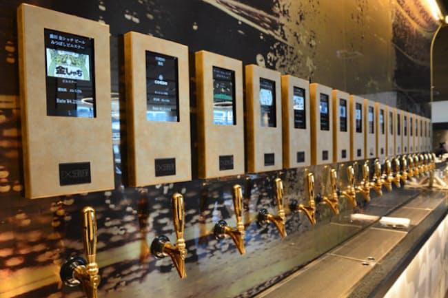 18基のタップからそれぞれ異なるビールを自分で注いで楽しめる