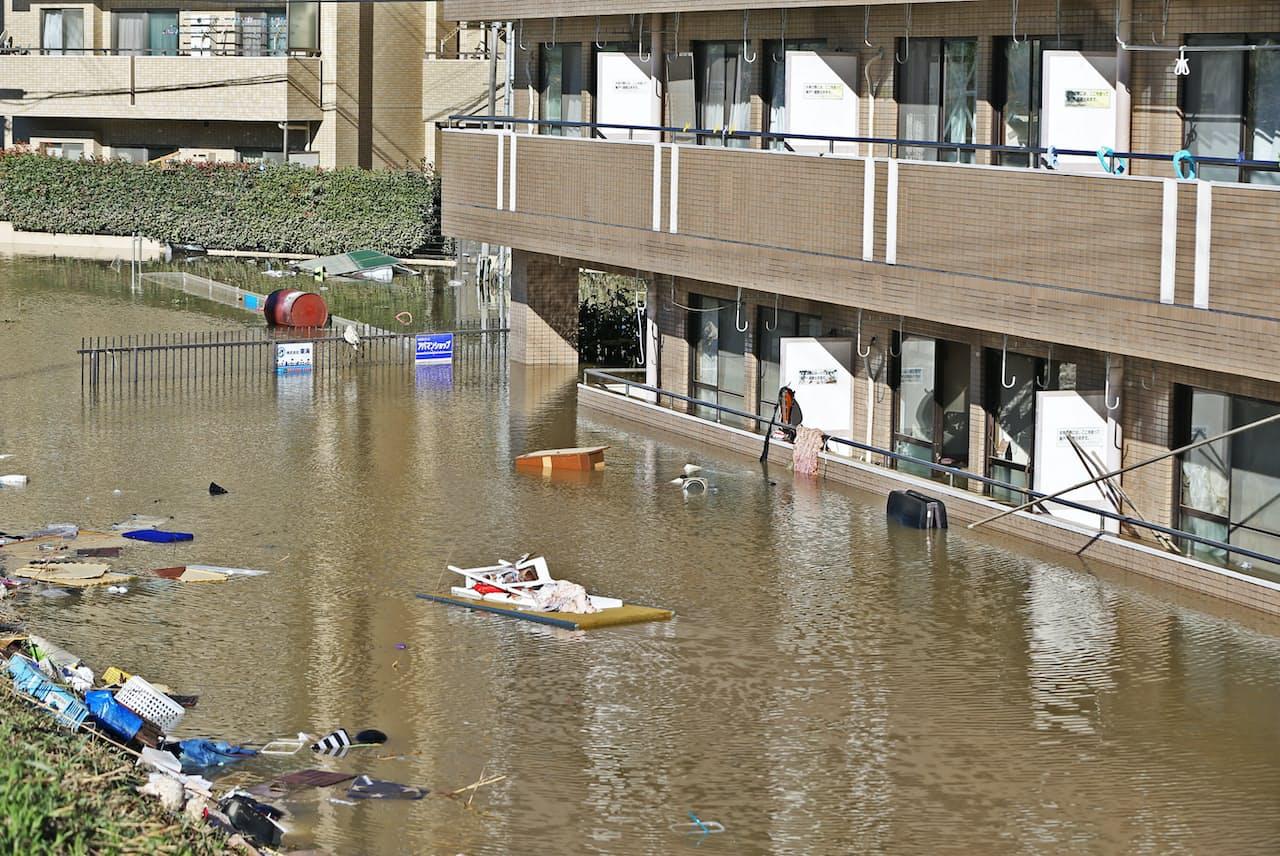 台風19号は首都圏でも広範囲に浸水被害をもたらした(10月、川崎市高津区)