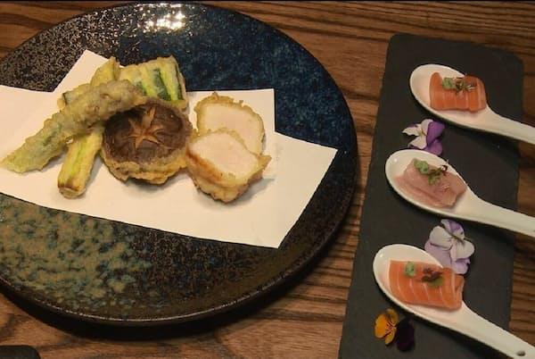 レストランでは和食を用意。日本のウイスキーも多数そろえる