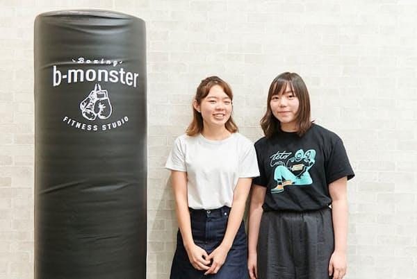暗闇ボクシングジム「b-monster」を立ち上げた塚田美樹さん(左)と塚田眞琴さん