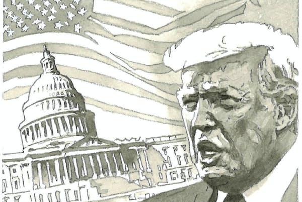 今秋の米大統領選では、誰がだけでなく、どのように選ばれるかも注目される=イラスト・よしおか じゅんいち