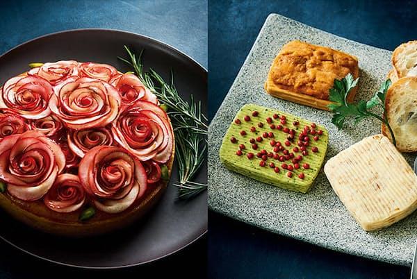 """りんごをバラの花のように束ねたタルトや、うにやショコラの風味をダイレクトに感じる""""食べるバター""""で、食卓を華やかに演出したい(NikkeiLUXEより)"""