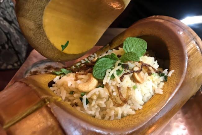 バスマティライスを使ったインドの炊き込みご飯「ビリヤニ」(東京都中央区のバンゲラズキッチン)