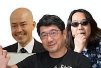 奥山清行さん(中)、中島信也さん(左)、みうらじゅんさん(右)は武蔵美で同級生だった