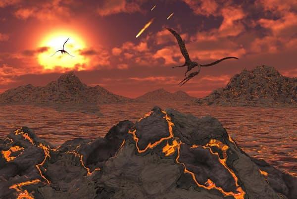 非鳥類型恐竜を一掃した大量絶滅の際に、噴火する火山の上空を飛ぶ翼竜たち(ILLUSTRATION BY STOCKTREK IMAGES, NAT GEO IMAGE COLLECTION)