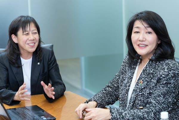 ローソンの柳田衣里さん(左)と白河桃子さん