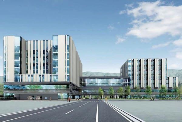 米沢市立病院(左)と三友堂病院(右)がそれぞれ病棟を新設する(イメージ図)