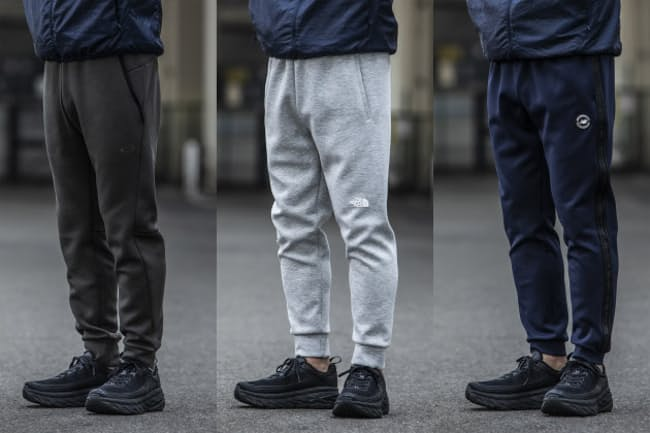 動きやすいだけでなく、街歩きにも映えるトレーニング用パンツを紹介する(右からニューバランス、ザ・ノース・フェイス、オークリー)