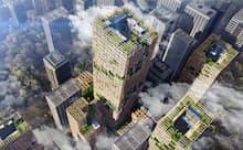 ・2018年に発表した木造超高層建築物の開発構想「W350計画」(画像提供=住友林業・日建設計)