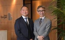 MIRAI-LABOの平塚利男・代表取締役(左)とローランド・ベルガーの長島聡社長(右)