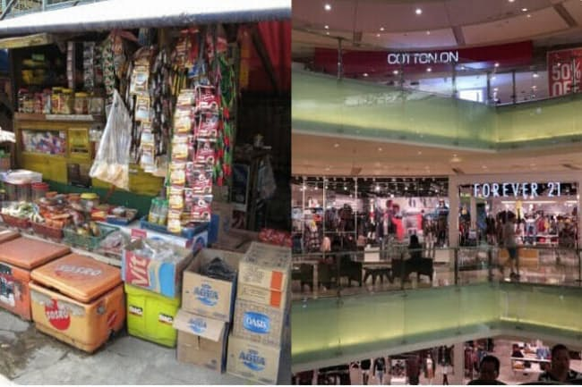 インドネシアの伝統的小売店ワルン(左)と代表的な近代的小売店ハイパーマーケット