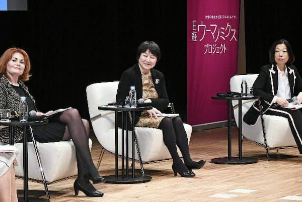 幸せな働き方をテーマに語り合ったエーリン・フリーゲンリング駐日アイスランド大使(左)、大和証券グループ本社の田代桂子副社長(中)、国際弁護士のナンシー・ヤマグチ氏(右)