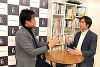 法政大学の田中教授(写真左)とBeyond Cafeの伊藤社長