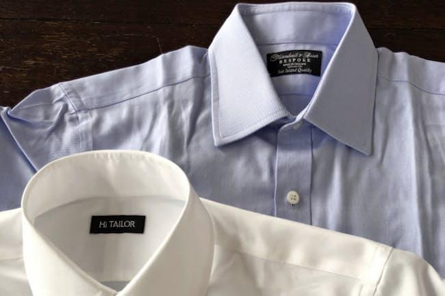 スマホで採寸したシャツ(左)と英国のチャールズ皇太子担当者が採寸したシャツ(右)の仕上がり寸は首回り以外大差はなかった