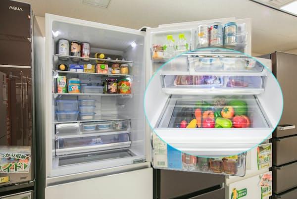 冷蔵室の扉を開けると、下の段の野菜室の中身が見えるアクアの冷蔵庫「Delie」シリーズ。現代の家庭を研究した結果、生まれた工夫だという