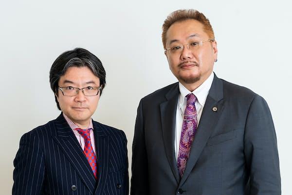 夏原武氏(右)と大口克人・「日経マネー」発行人