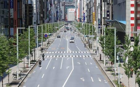 閑散とするする東京・銀座(4月29日)