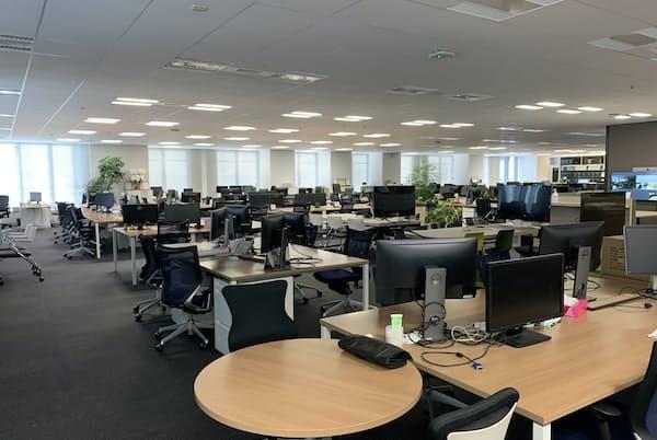 緊急事態宣言後、明豊ファシリティワークスのオフィスはほぼ無人状態に