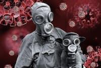 夢の研究をしている米ハーバード大学の心理学の教授ディアドラ・バレット氏が最近見た新型コロナウイルスに関する夢のフォトイラストレーション。氏の自作(ARTWORK BY DEIRDRE BARRETT)