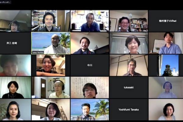 音楽家らが集まる「庭園想楽」がビデオ会議で開いた著作権に関する勉強会の様子