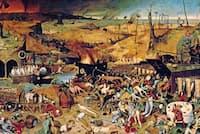 絵画『死の勝利』(ピーテル・ブリューゲル、1562年)には、社会に壊滅的な打撃を与えた疫病と戦争がヨーロッパ人の想像力に残した強烈な印象が描き出されている(PHOTOGRAPH BY ORONOZ/ALBUM)