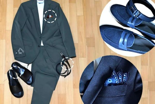 コーデのコツは、スーツにネクタイ、靴、かばんなどアイテムの色のトーンをそろえること