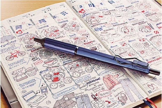 低粘度の油性インクを使用。速乾性に優れ、濃くはっきりとした線を筆記できる