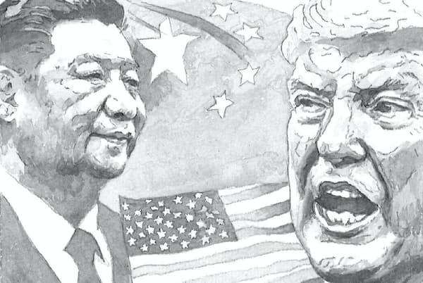 コロナ危機の影響によって、米国と中国の対立は激しさを増しているイラスト・よしおか じゅんいち