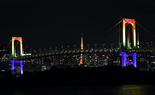 東京都のレインボーブリッジ。アラート解除で再び七色に