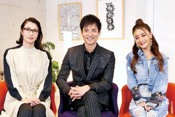 スタジオ出演は(左から)水野美紀と沢村一樹、池田美優。「嘘がなくて、的確な目と言葉を持っている方ということでオファーしました」(春名氏)。水曜22時/フジ系