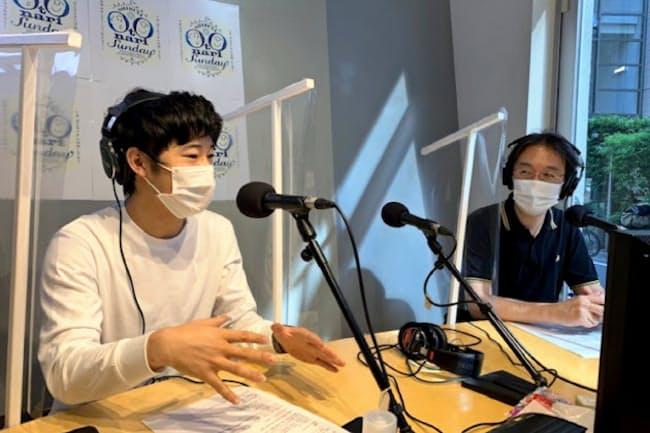番組の配信でも感染対策は欠かせない(2020年6月、東京・渋谷のコミュニティFM「渋谷のラジオ」スタジオ内)
