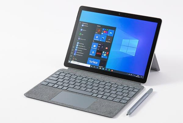 日本マイクロソフトの10.5型Windowsタブレット「Surface Go 2」。一般向けモデルの直販価格は5万9800円(税別)から。キーボード兼カバーとペンはオプション