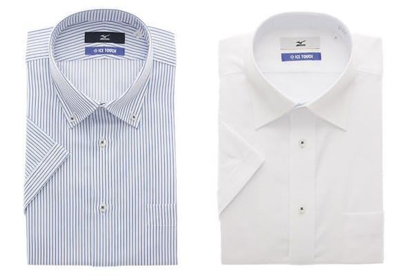 ミズノと共同企画した「アイスタッチドレスシャツ」。洗濯後のシワを軽減する「形態安定加工」が施されている。半袖・長袖ともに店頭価格は3900円(税別)