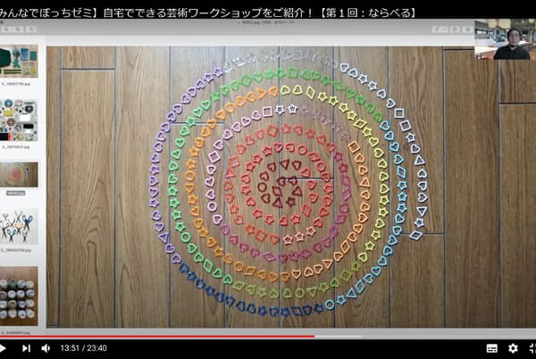 京都芸術大がオンライン上で始めた「みんなでぼっちゼミ」。高校生らの投稿作品を動画でも紹介し、講師(右上)らが講評する