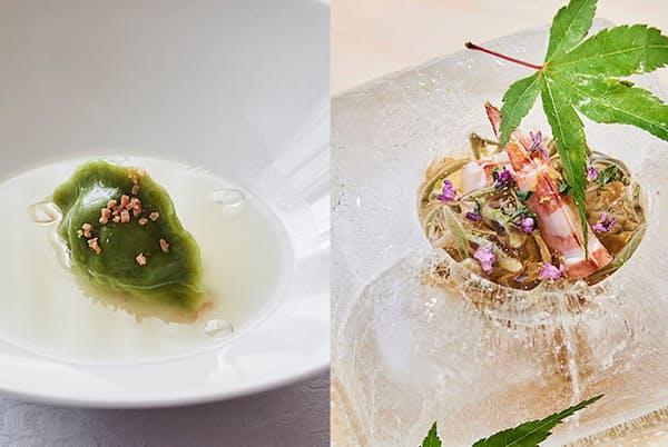 「赤坂 桃の木」の新たなスペシャリテとして人気を集めているゴルゴンゾーラの水餃子(写真左)。「麻布十番 味はな」では、氷をくり抜いて器に見立てた粋な演出で、お凌ぎの蕎麦(写真右)が供される。(NikkeiLUXEより)