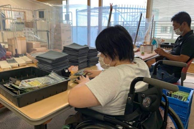 東京都町田市の就労施設「なないろ」では感染予防策を徹底する(2020年7月)