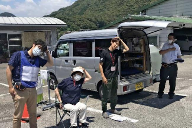 独自に車中泊対応を試行する地方自治体も(6月8日、高知県日高村)