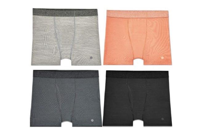 メンズブリーフはカラー4色、サイズS~XLの展開。生地はメリノウールを使った混紡素材