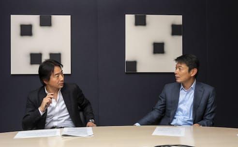 リクルートホールディングス顧問の池内省五氏(左)とボストンコンサルティンググループ日本代表の杉田浩章氏