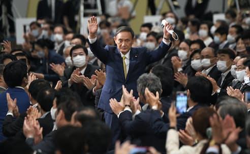 自民党総裁選では菅氏が圧勝した(14日)