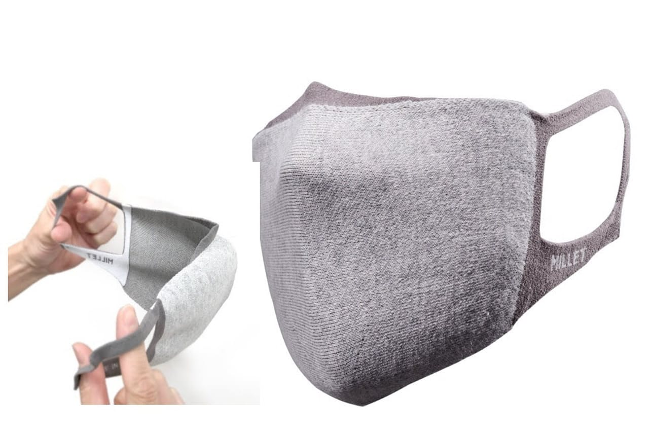 ミレーの「ホールガーメント マスク」。繊維に吸汗・速乾機能を持たせ、抗菌消臭加工を施す。カラーはグレーのみ。M、Lの2サイズ。1980円(税別)
