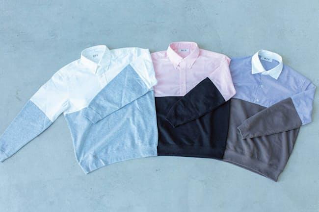 「ホワイトシャツ×グレースウェット」「ピンクシャツ×ブラックスウェット」「ブルーストライプシャツ×ダークグレースウェット」の3色で展開している