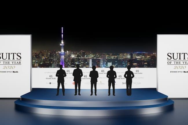 フルCGで作り込んだリアルな東京の夜景をバックに華やかな授賞式が開かれる