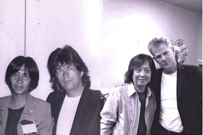 宝物のデイヴィッド・フォスター氏との写真(左の写真は1987年の来日時に、右は2016年にサンタモニカで撮影)