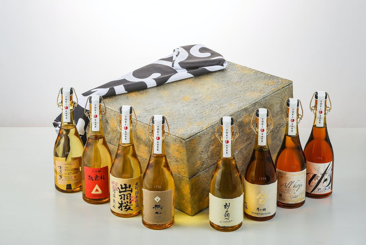 「刻SAKE協会」が11月からオンライン通販サイトで予約受付を開始した熟成酒の8本セット。販売価格は202万円だ