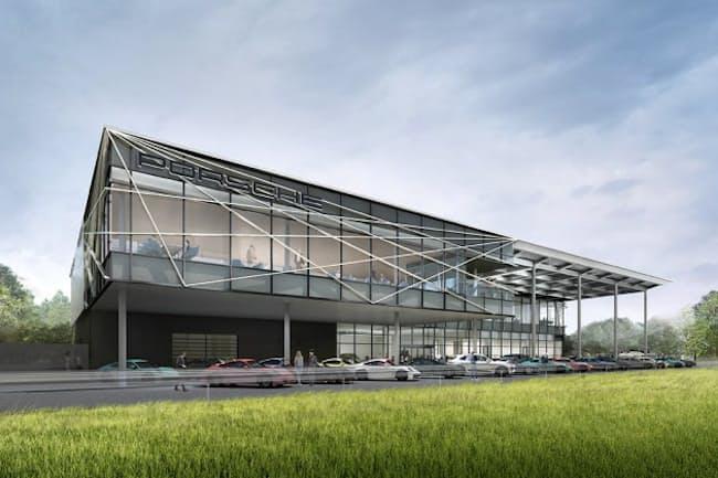 2021年晩夏に千葉県木更津市にオープン予定の「ポルシェ・エクスペリエンスセンター東京」の完成予想図。伝統工芸品の江戸切子をモチーフにした