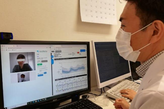血糖データを表示しながら遠隔診療(名古屋市の糖尿病・内分泌内科クリニックTOSAKI)