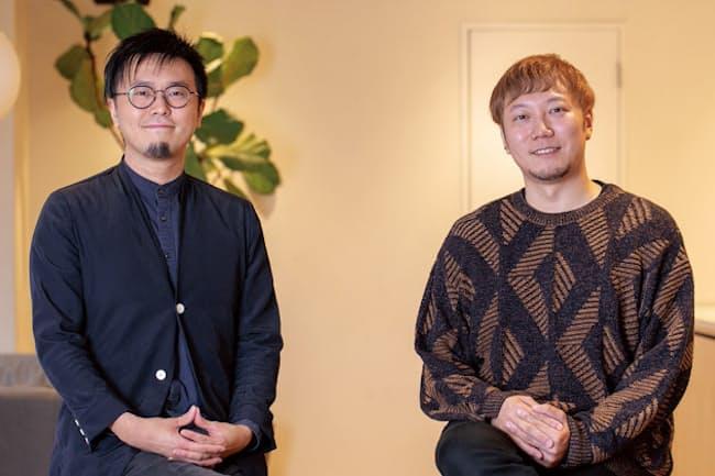 クックパッドJapan執行役員 たのしいキッチン事業部の渡部一紀氏(右)とNOSIGNERの太刀川英輔氏(左)(写真 丸毛透)