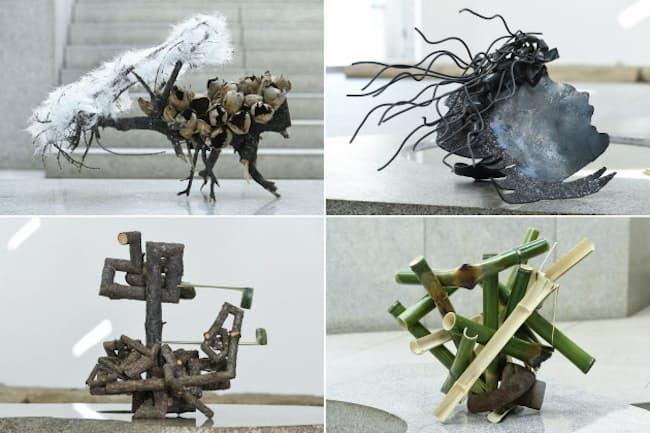 いけばな草月流家元の勅使河原茜氏の作品。左上から時計回りにガラス繊維、アイアン、竹、松が使われている(3日、東京都港区)