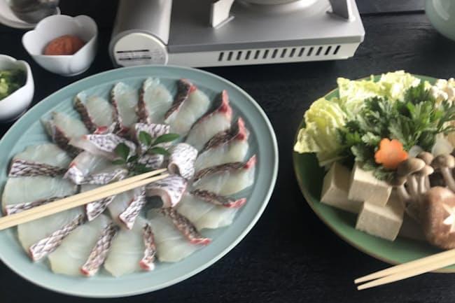脂がのった真鯛を味わえる鯛しゃぶ(活魚料理いなさ)